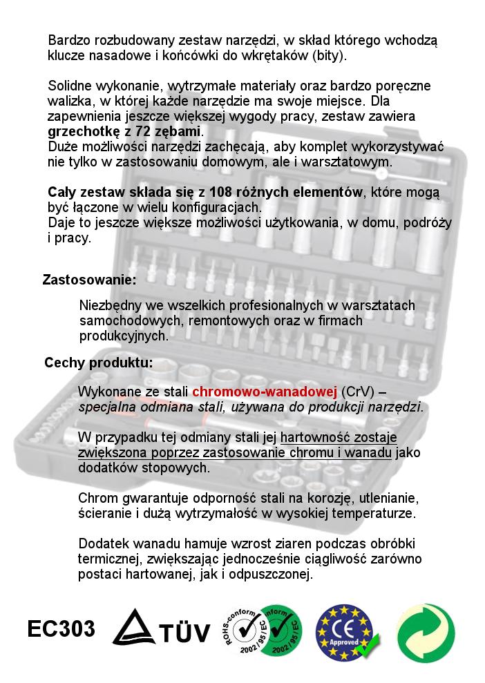 Zestaw Kluczy Klucze Nasadowe TORX EC303 108EL
